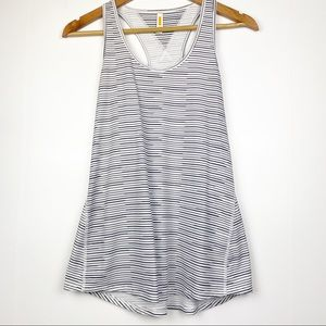LUCY Black White Striped Racerback Athletic Tank S